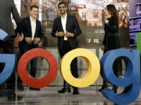 BERLIN, GERMANY - JANUARY 22: Philipp Justus (L), Vice President Google Central Europe, Sundar Pichai (C), CEO of Google and Senior Director Public Policy and Government Relations Annette Kroeber-Riel (R) pose for the media before the festive opening of the Berlin representation of Google Germany on January 22, 2019 in …