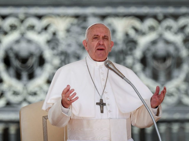 Pope Francis speaks during his weekly general audience on St. Peter's Square at the Vatican City on May 1, 2019. (Photo by Tiziana FABI / AFP) (Photo credit should read TIZIANA FABI/AFP/Getty Images)