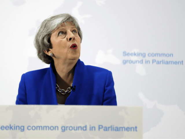 LONDON, ENGLAND - MAY 21: Prime Minister Theresa May delivers a speech detailing a new Brexit deal on May 21, 2019 in London, England. The Prime Minister announced that MPs will be able to vote on another referendum if they back the EU Withdrawal Agreement Bill. (Photo by Kirsty Wigglesworth …