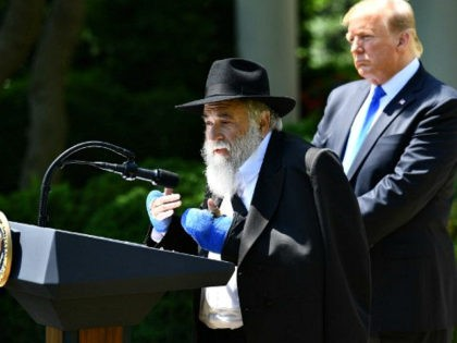 Rabbi Yisroel Goldstein, with US President Donald, speaks during the National Day of Prayer Service, in the Rose Garden of the White House in Washington, DC, on May 2,2019. - Rabbi Goldstein of Chabad of Poway was wounded on April 27 during deadly shooting at the synagogue in San Diego. …