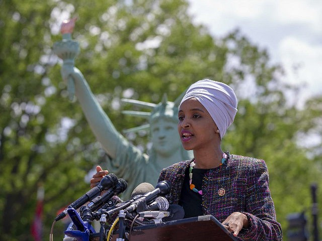 WASHINGTON, DC - MAY 16: Rep. Ilhan Omar (D-MN) speaks at the America Welcomes Event with a Statue Of Liberty Replica Shows Solidarity With Immigrants & Refugees at Union Station on May 16, 2019 in Washington, DC. (Photo by Tasos Katopodis/Getty Images for MoveOn.org)