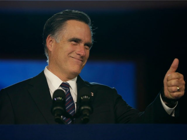 Republican presidential candidate and former Massachusetts Gov. Mitt Romney gives a thumbs up as he arrives to give his concession speech at his election night rally in Boston, Wednesday, Nov. 7, 2012. (AP Photo/Charles Dharapak)