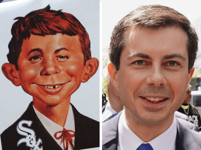 Alfred E. Neuman and Pete Buttigieg (Jonathan Daniel/Getty and TIMOTHY A. CLARY/AFP/Getty)