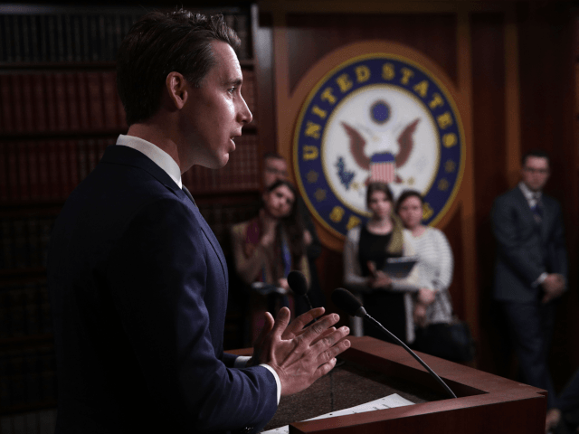 "U.S. Sen. Josh Hawley (R-MO) speaks during a news conference at the U.S. Capitol April 2, 2019 in Washington, DC. Sen. Rick Scott (R-FL) held a news conference to discuss ""his efforts to make healthcare more affordable and accessible for families."" (Photo by Alex Wong/Getty Images)"
