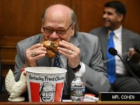 US Congressman Steve Cohen, Democrat of Tennessee, eats chicken as during a hearing before the House Judiciary Committee on Capitol Hill in Washington, DC, on May 2, 2019. - US Attorney General Bill Barr refused to testify before the committee hearing on his handling of the Mueller report, setting up …