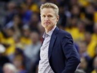 OAKLAND, CALIFORNIA - MAY 14: Head coach Steve Kerr of the Golden State Warriors reacts during the second half against the Portland Trail Blazers in game one of the NBA Western Conference Finals at ORACLE Arena on May 14, 2019 in Oakland, California. NOTE TO USER: User expressly acknowledges and …