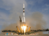 Russia's Soyuz MS-09 spacecraft carrying the members of the International Space Station (ISS) expedition 56/57, NASA astronaut Serena Aunon-Chancellor, Roscosmos cosmonaut Sergey Prokopyev and German astronaut Alexander Gerst, blasts off to the ISS from the launch pad at the Russian-leased Baikonur cosmodrome on June 6, 2018. (Photo by Vyacheslav OSELEDKO …