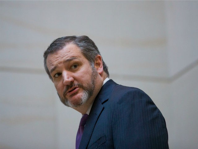 Sen. Ted Cruz, R-Texas, turns to answer a reporter's question as he departs after a closed-door briefing for the members of the Senate Foreign Relations Committee, Tuesday, March 5, 2019, in Washington. (AP Photo/Alex Brandon)