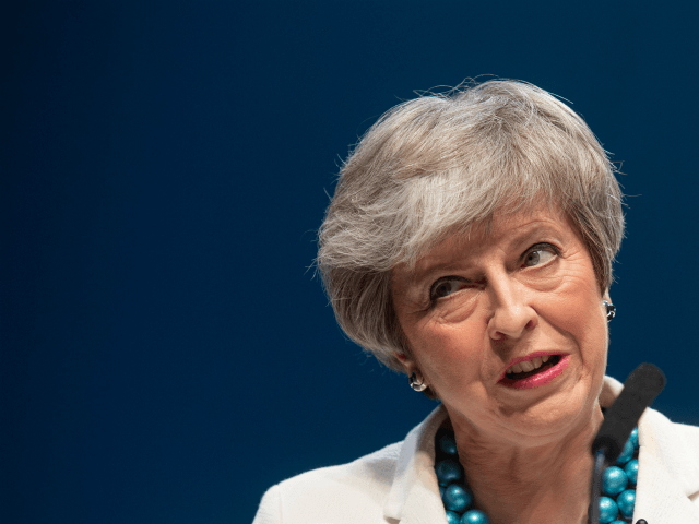 ABERDEEN, SCOTLAND - MAY 03: British Prime Minister Theresa May addresses the Scottish Conservative Party Conference at Aberdeen Exhibition and Conference Centre on May 3, 2019 in Aberdeen, Scotland. The Prime Minister addressed the conference the day after her party lost hundreds of seats in local elections that took place …