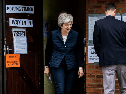 SONNING, ENGLAND - MAY 02: British Prime Minister Theresa May and her husband Philip leave after casting their votes at a polling station in the local council elections on May 2, 2019 in Sonning, England. Voters are heading to the polls today for council and mayoral elections across England and …