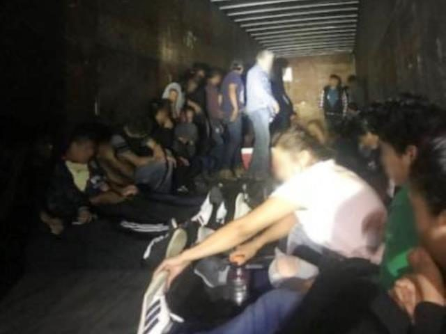 Laredo Sector Border Patrol agents find 66 migrants locked in a tractor-trailer at the IH-35 Immigration Checkpoint. (Photo: U.S. Border Patrol/Laredo Sector)