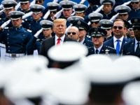COLORADO SPRINGS, CO - MAY 30: President Donald Trump watches as graduating cadets march into Falcon Stadium for the United States Air Force Academy commencement ceremony on May 30, 2019 in Colorado Springs, Colorado. (Photo by Michael Ciaglo/Getty Images)