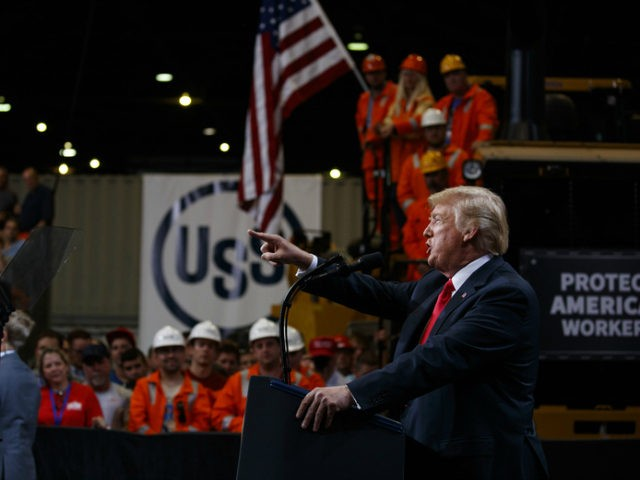 President Donald Trump speaks on trade at Granite City Works Steel Coil Warehouse, Thursday, July 26, 2018, Granite City, Ill. (AP Photo/Evan Vucci)