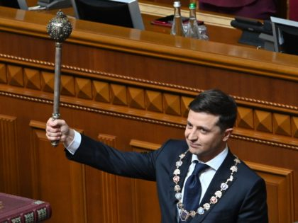 Ukraine President Volodymyr Zelensky holds Bulava, the Ukrainian symbol of power, during his inauguration ceremony at the parliament in Kiev on May 20, 2019. (Photo by Genya SAVILOV / AFP) (Photo credit should read GENYA SAVILOV/AFP/Getty Images)