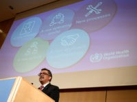 World Health Organization (WHO) Director-General Tedros Adhanom Ghebreyesus delivers a speech on the opening day of the World Health Assembly on May 20, 2019 at the United Nations Offices in Geneva. (Photo by Fabrice COFFRINI / AFP) (Photo credit should read FABRICE COFFRINI/AFP/Getty Images)