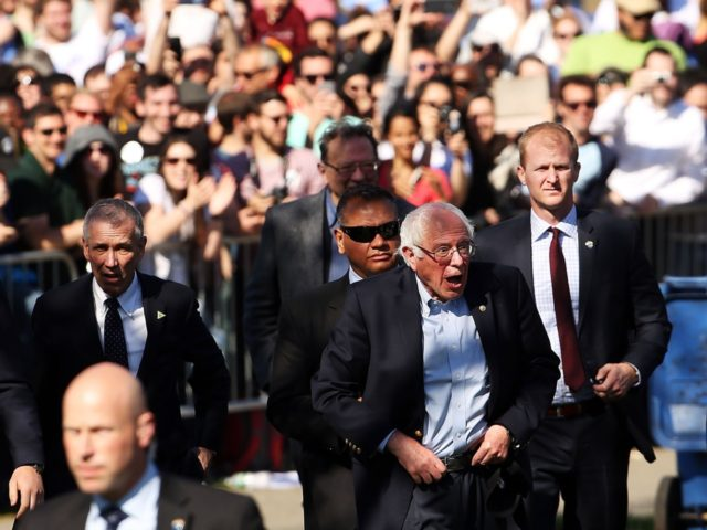 Democratic Presidential candidate Bernie Sanders walks with members of his family before speaking to a crowd of thousands in Brooklyn's Prospect Park on April 17, 2016 in New York City. While Sanders is still behind in the delegate count with Hillary Clinton, he has energized many young and liberal voters …