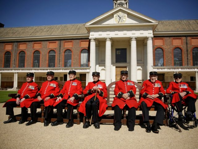 British Chelsea Pensioners who are veterans of the World War II Battle of Normandy, codenamed Operation Overlord, and D-Day pose for a group photograph during a D-Day 75th anniversary photocall at the Royal Hospital Chelsea in London, Monday, May 13, 2019. The 75th anniversary of D-Day is on 6 June, …