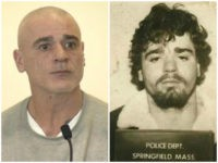 George Perrot appearing in court Monday morning (WBZ-TV), right. Perrot's 1985 mugshot (Springfield Police Department), left.
