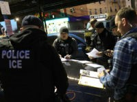 "NEW YORK, NY - APRIL 11: U.S. Immigration and Customs Enforcement (ICE), officers prepare for morning operations to arrest undocumented immigrants on April 11, 2018 in New York City. New York is considered a ""sanctuary city"" for undocumented immigrants, and ICE receives little or no cooperation from local law enforcement. …"