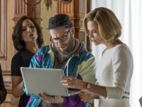 Charlize Theron, Seth Rogen, June Diane Raphael, and Ravi Patel in Long Shot (AG Studios, Denver and Delilah Productions, Good Universe, 2019)