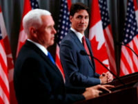 US Vice President Mike Pence (L) and Canadian Prime Minister Justin Trudeau deliver a joint press conference in Ottawa, Ontario, on May 30, 2019. (Photo by Lars Hagberg / AFP) (Photo credit should read LARS HAGBERG/AFP/Getty Images)