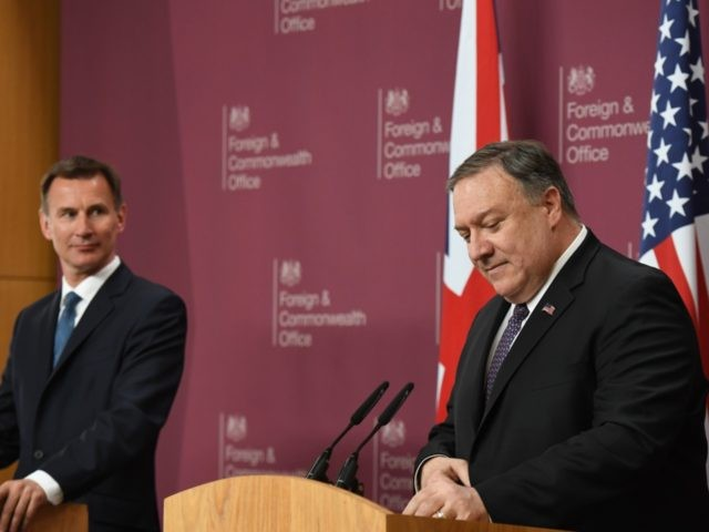 LONDON, ENGLAND - MAY 08: US Secretary of State Mike Pompeo attends a joint press conference with Foreign Secretary Jeremy Hunt at Foreign & Commonwealth Office, on May 8, 2019 in London, England. (Photo by Chris J Ratcliffe/Getty Images)