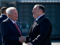 US Secretary of State Mike Pompeo (R) shakes hands with the US' ambassador to Finland Robert Frank Pence (2nd R) after arriving in Rovaniemi, Finland, on May 6, 2019. - Pompeo is in Rovaniemi to attend the Arctic Council Ministerial Meeting. (Photo by MANDEL NGAN / POOL / AFP) (Photo …