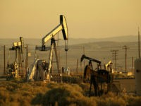 Oil rigs pump at sunrise on August 4, 2004 north of the Los Padres National Forest, California. The Bush administration is pushing to undo a Clinton-era decision that put 58.5 million acres of national forests off-limits to development, especially in road-less areas. The new plan would allow the nation's governors …