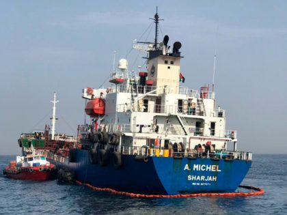 """This photo provided by the United Arab Emirates' National Media Council shows the Emirati-flagged bunkering tanker A. Michel off the coast of Fujairah, United Arab Emirates, Monday, May 13, 2019. Two Saudi oil tankers and a Norwegian-flagged vessel were damaged in what Gulf officials described Monday as a """"sabotage"""" attack …"""