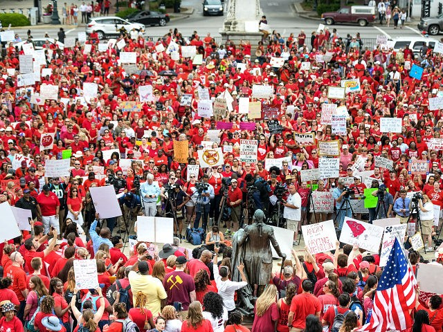 COLUMBIA, SC - MAY 01: Teachers and their supporters rally at the South Carolina State House on May 1, 2019 in Columbia, South Carolina. Law enforcement estimated 10,000 people gathered at the state capital. (Photo by Sean Rayford/Getty Images)