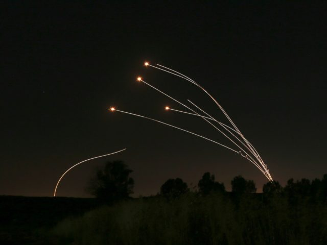 Israeli air defense system Iron Dome takes out rockets fired from Gaza near Sderot, Israel, Saturday, May 4, 2019. Palestinian militants in the Gaza Strip fired at least 90 rockets into southern Israel on Saturday, according to the Israeli military, triggering retaliatory airstrikes and tank fire against militant targets in …