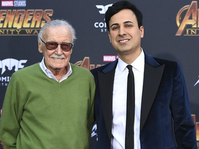 "FILE - In this April 23, 2018, file photo, Stan Lee, left, and Keya Morgan arrive at the world premiere of ""Avengers: Infinity War"" in Los Angeles. Morgan, the former business manager of Lee has been arrested on elder abuse charges involving the late comic book icon. Los Angeles police …"