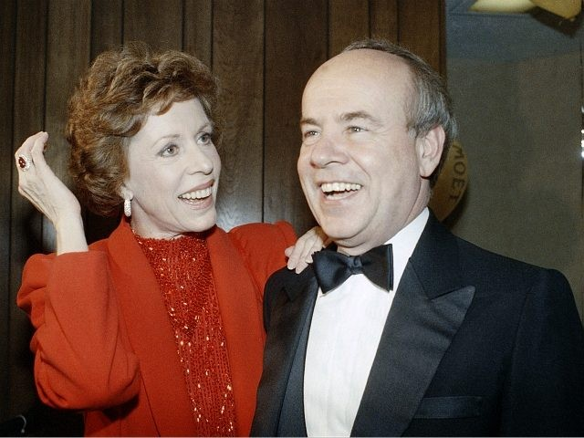 "FILE - In this April 26, 1986 file photo, Carol Burnett, left, and veteran comrade in comedy Tim Conway laugh during a gala birthday party for Burnett in Los Angeles. Conway, the impish second banana to Burnett who won four Emmy Awards on her TV variety show, starred aboard ""McHale's …"