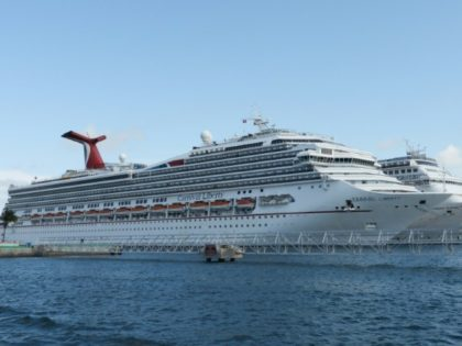 Ships from the Carnival cruise line are seen in Nassau, Bahamas