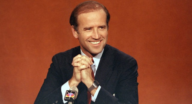 "Sen. Joe Biden (D-Del.) is shown on NBC's ""Face the Nation,"" in Washington, April 29, 1984. (AP Photo)"
