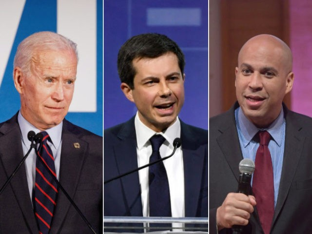 2020 Democrat candidates Joe Biden, Pete Buttigieg, and Cory Booker - collage.