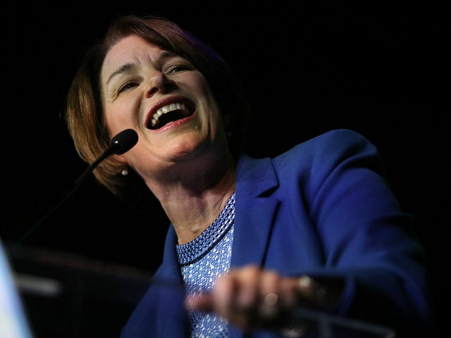 RICHMOND, VIRGINIA - JUNE 15: Democratic presidential candidate Sen. Amy Klobuchar (D-MN) speaks at the 2019 Blue Commonwealth Gala fundraiser June 15, 2019 in Richmond, Virginia. Nearly 1,800 attended the event featuring Klobuchar and Democratic presidential candidate and South Bend, Indiana Mayor Pete Buttigieg. (Photo by Win McNamee/Getty Images)