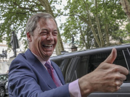 Brexit Party leader Nigel Farage arrives at the party's HQ, prior to an event to mark the gains his party made in the European Elections, in London, Monday, May 27, 2019. In results announced Monday for all regions of the U.K. except Northern Ireland, the Brexit Party had won 29 …