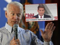 (INSET: CNN Chyron) Former vice president and Democratic presidential candidate Joe Biden speaks during a campaign event, Tuesday, June 4, 2019, in Berlin, N.H. (AP Photo/Elise Amendola)