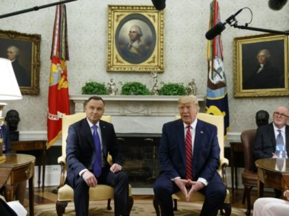 President Donald Trump speaks during a meeting with Polish President Andrzej Duda in the Oval Office of the White House, Wednesday, June 12, 2019, in Washington. (AP Photo/Evan Vucci)