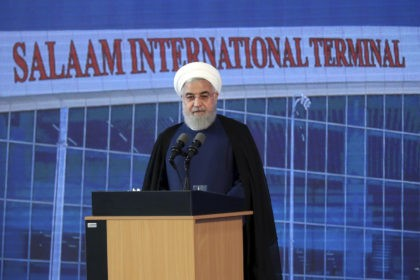 In this photo released by the official website of the office of the Iranian Presidency, Iranian President Hassan Rouhani speaks in a ceremony at Imam Khomeini International Airport some 25 miles (40 kilometers) south of the capital Tehran, Iran, Tuesday, June 18, 2019. President Rouhani says his country is not …