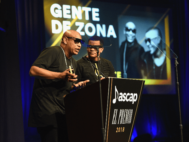 Alexander Delgado and Randy Malcom Martinez of Gente de Zona speak on stage during the ASCAP 2018 Latin Awards at Marriott Marquis Hotel on March 6, 2018 in New York City. (Photo by Mike Pont/Getty Images)