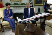 A model of the new Air Force One design sits on a table during a meeting between President Donald Trump and Canadian Prime Minister Justin Trudeau in the Oval Office of the White House, Thursday, June 20, 2019, in Washington. (AP Photo/Evan Vucci)