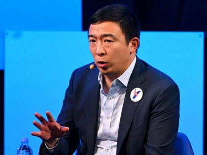 "NEW YORK, NEW YORK - MAY 22: 2020 Democratic Presidential Candidate, Andrew Yang speaks onstage at The Wall Street Journal's ""The Future of Everything Festival"" at Spring Studios on May 22, 2019 in New York City. (Photo by Nicholas Hunt/Getty Images)"