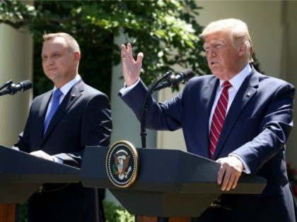 U.S. President Donald Trump and the President of Poland, Andrzej Duda speak to the media during a news conference in the Rose Garden at the White House on June 12, 2019 in Washington, DC. Later this evening President Trump will host a Polish-American reception in honor of the visiting president. …