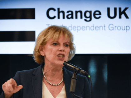 Change UK MP Anna Soubry speaks during a European Parliament election campaign rally at the Manchester Technology Centre in Manchester, northwest England, on May 21, 2019. - Despite voting in a referendum to leave the European Union in 2016 Britain is braced to take part in the European Parliament election …