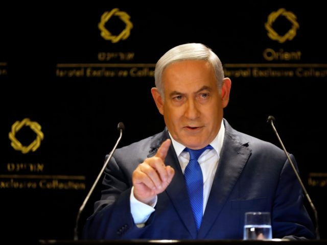 Israeli Prime Minister Benjamin Netanyahu speaks during statements to the press in Jerusalem, Thursday, May 30, 2019. President Donald Trump's son-in-law and senior adviser Jared Kushner met with Israeli Prime Minister Benjamin Netanyahu on Thursday to push the Trump administration's long-awaited plan for Mideast peace, just as Israel was thrust …