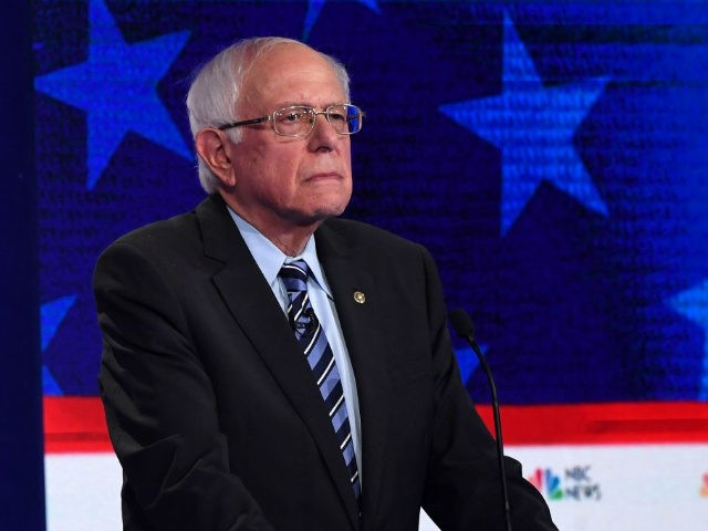 Democratic presidential hopeful former US Senator for Vermont Bernie Sanders looks on during the second Democratic primary debate of the 2020 presidential campaign season hosted by NBC News at the Adrienne Arsht Center for the Performing Arts in Miami, Florida, June 27, 2019. (Photo by SAUL LOEB / AFP) (Photo …