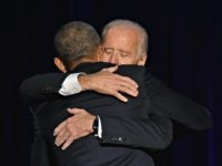 US President Barack Obama hugs US Vice President Joe Biden after the President delivered his farewell address in Chicago, Illinois on January 10, 2017. Barack Obama closes the book on his presidency, with a farewell speech in Chicago that will try to lift supporters shaken by Donald Trump's shock election. …