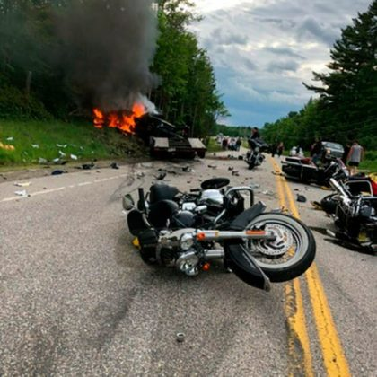 This photo provided by Miranda Thompson shows the scene where several motorcycles and a pickup collided on a rural, two-lane highway on June 21, 2019, in Randolph, N.H. (Photo: Miranda Thompson, AP)
